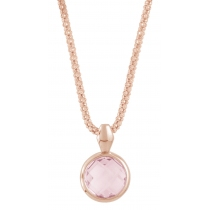 "Ketting - 925 Zilver W/CHN 18"" RG + WH. RHO PLATE ON CHAIN - Stone: ROSE QUARTZ"