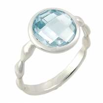 Ring - 925 Zilver W/WH. RHODIUM PLATE - STONE: SKY BLUE TOPAZ