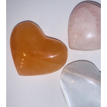 Heart in Selenite - orange